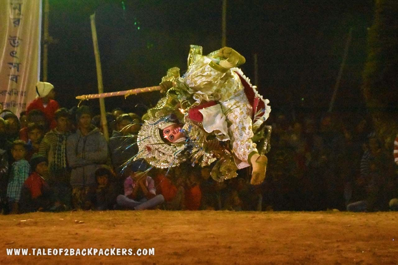 acrobatic dance movement of Chhau dance in Purulia