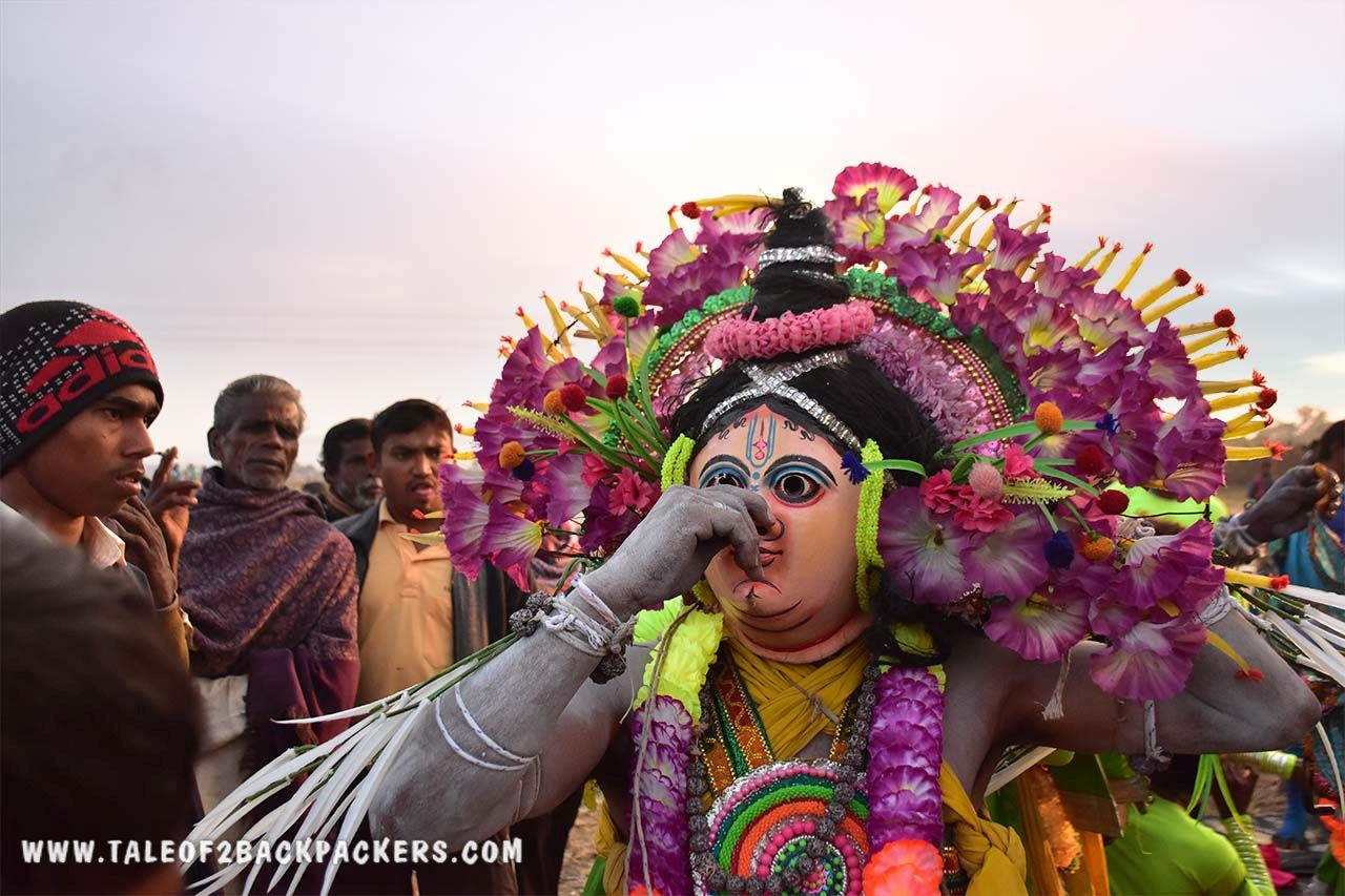 Chhau dancers getting ready for the act