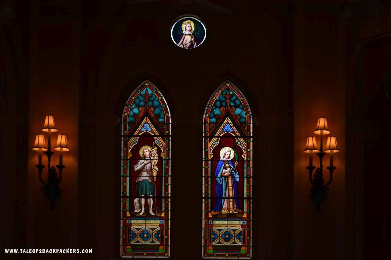 stained glasses in the interior of the cathedral of immaculate conception at Chanthaburi