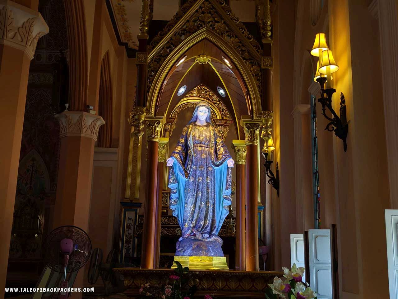 The statue of Virgin Mary at Cathedral of Immaculate Conception, Chanthaburi is said to be studded with more than 200000 glittering semi-precious stones.