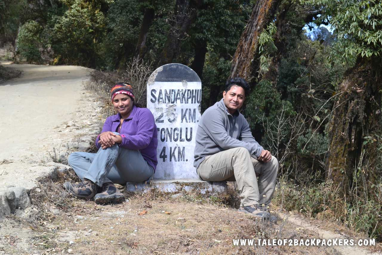 Milestone at Sandakphu trek route