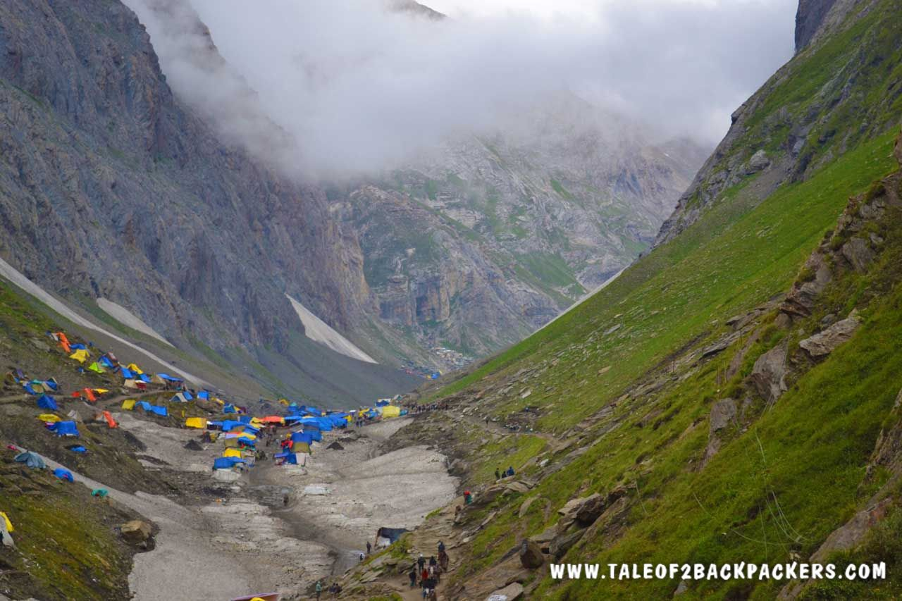 Amarnath Gufa seen at a distance along with the temporary tents