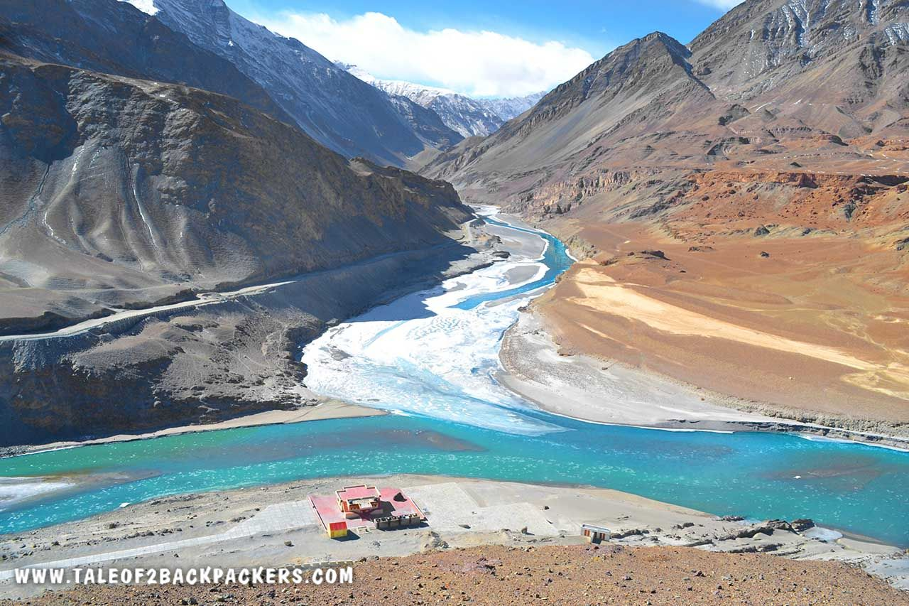 Sangam point of Indus and Zanskar River at Nimmu Leh Ladakh trip