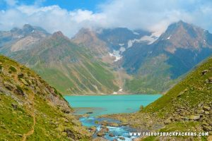 The emerald green Seshnag Lake on Amarnath Yatra Route