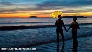 pre-wedding photoshoot at Tanjung Aru Beach. This beach has one of the best sunsets in sabah