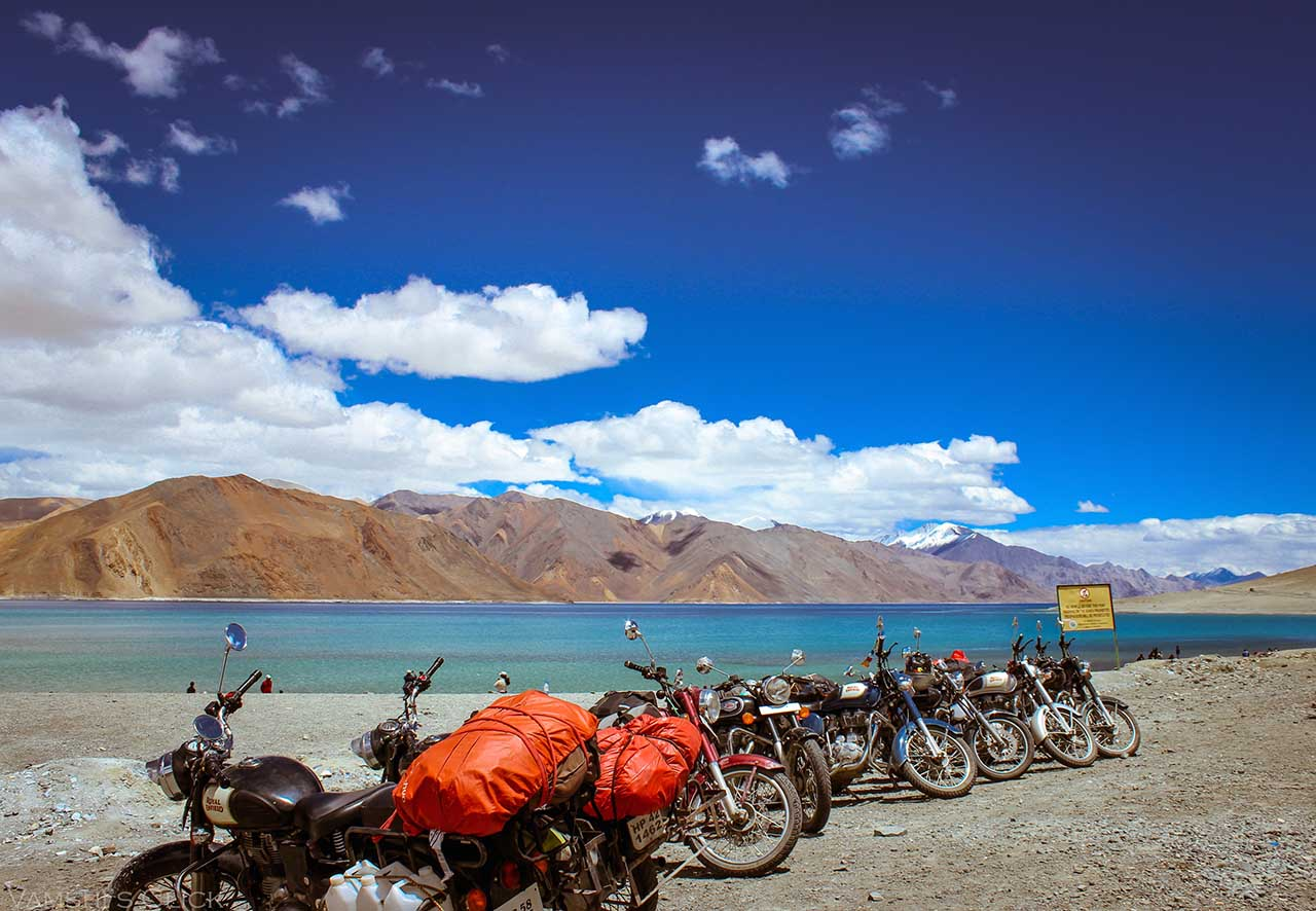bikes at the side of Pangong Tso