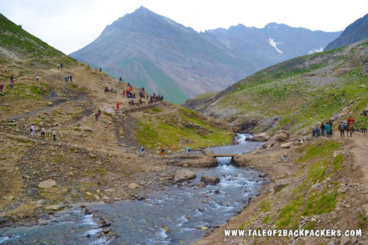 crossing the river on the Amarnath yatra route