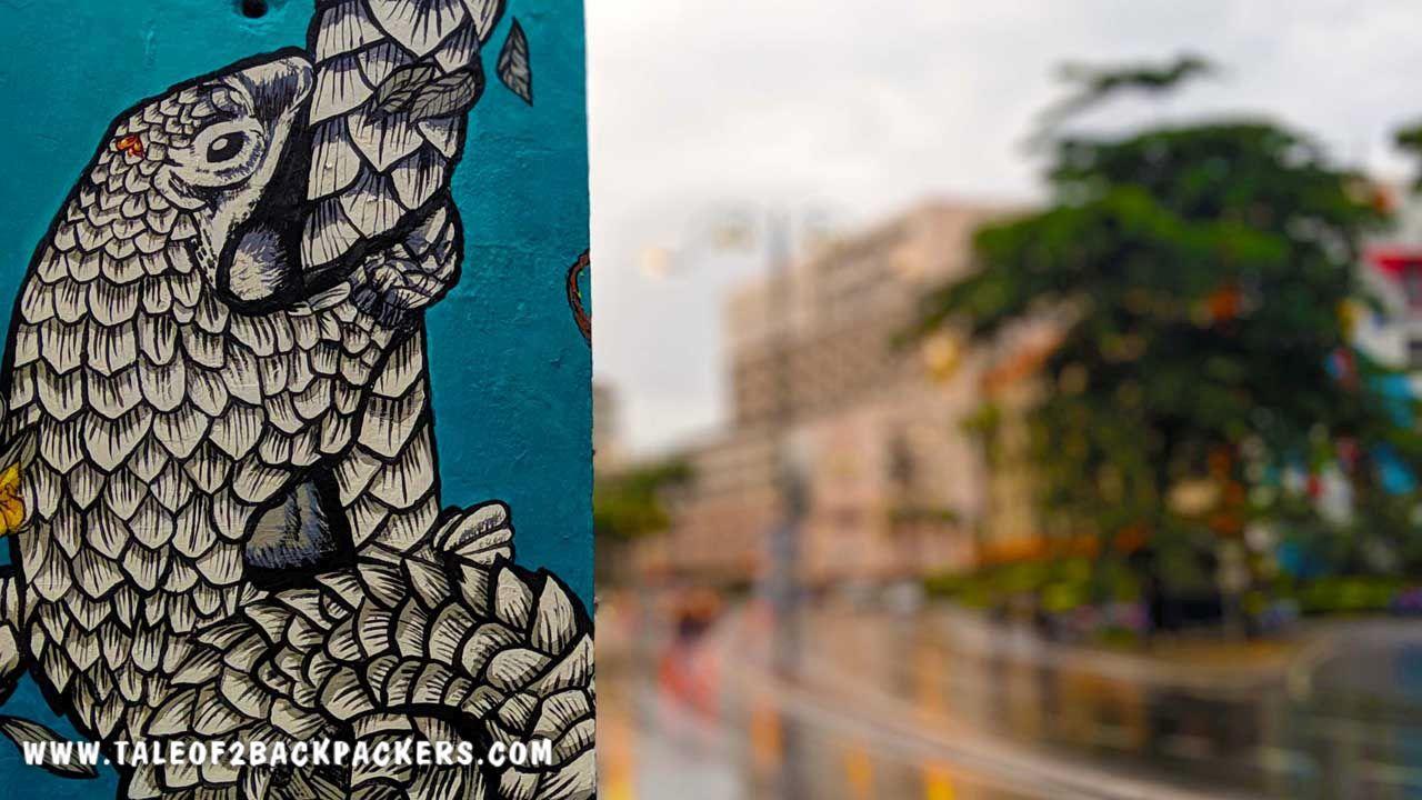 Sunda Pangolin painted on the pillars of Sabah
