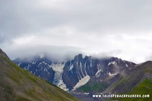 snow patched mountains on Baltal route