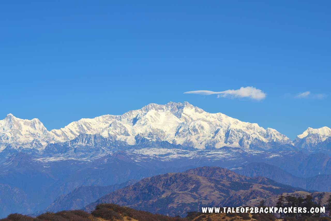 view of the mountain range at Sandakphu trek toute