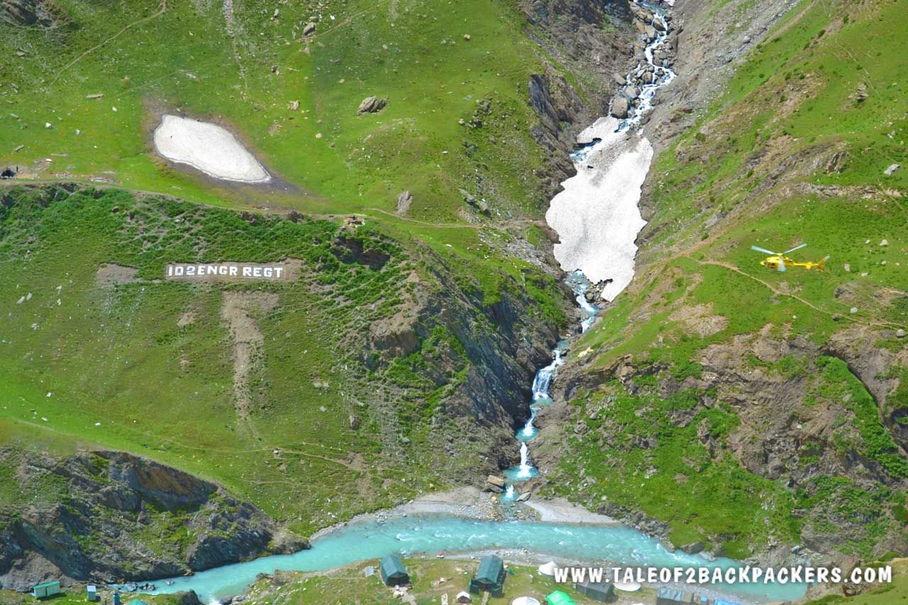 view of the river and helicopter ride at Amarnath