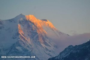 sunrise over mountain ranges at Chandrashila trek