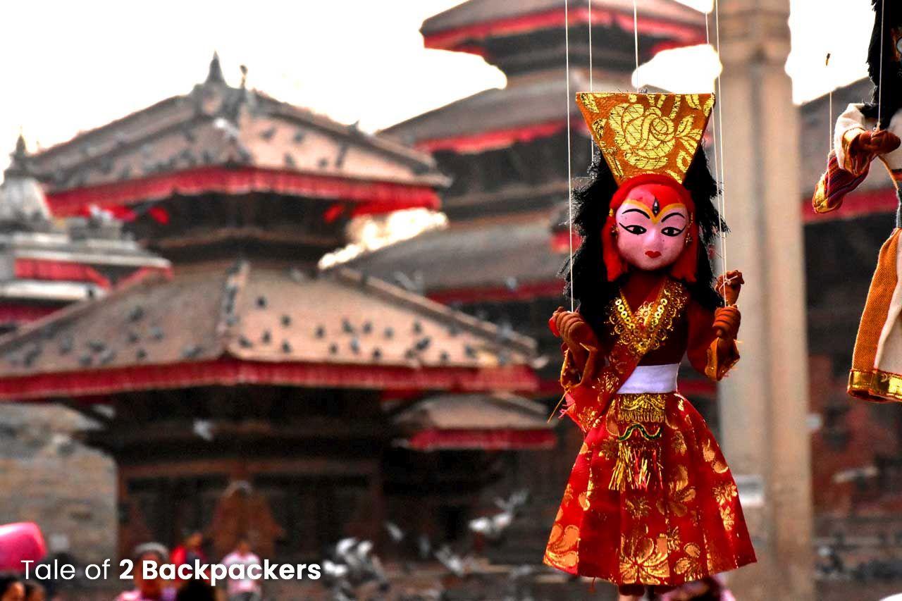 A Kumari Doll displayed at Patan Durbar Square