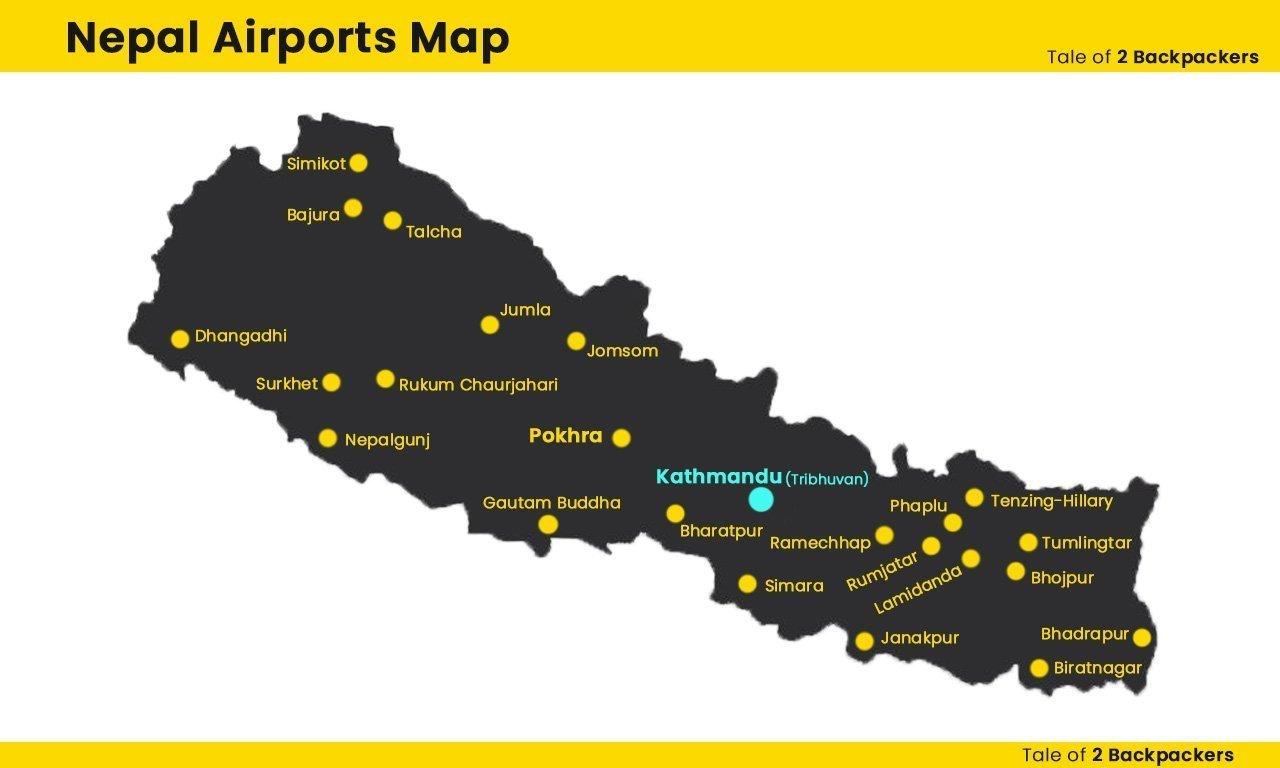 Nepal Airports Map