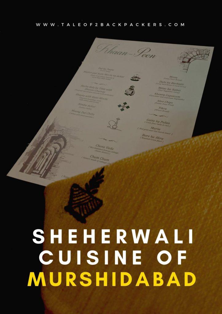 Menu of Sheherwali cuisine at Barikothi, Murshidabad