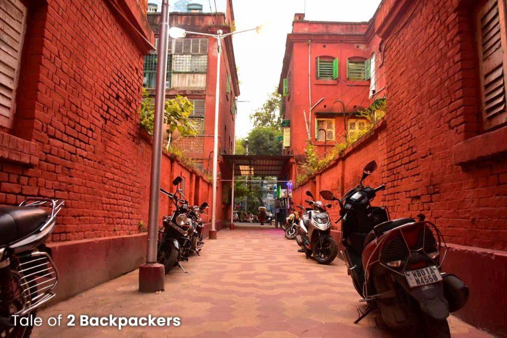 Red buildings at Bow Barracks Kolkata