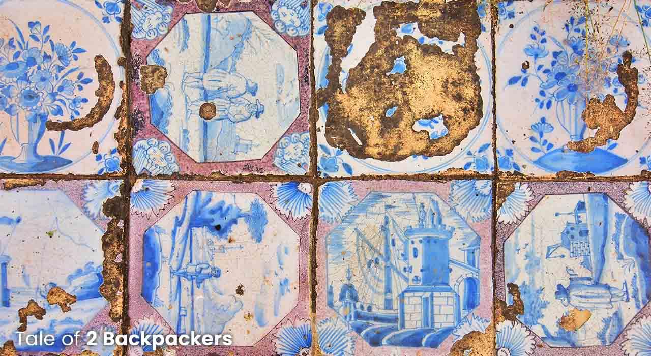 Blue tiles in Jaffarganj Cemetery, Murshidabad