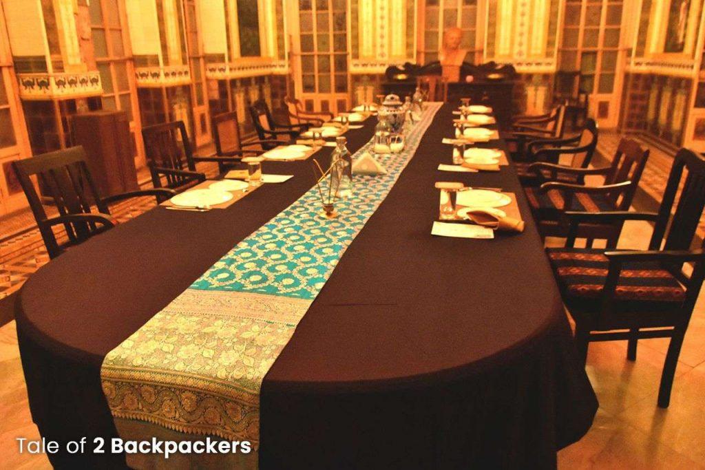 Dining table at Durbar Hall at Barikothi Murshidabad
