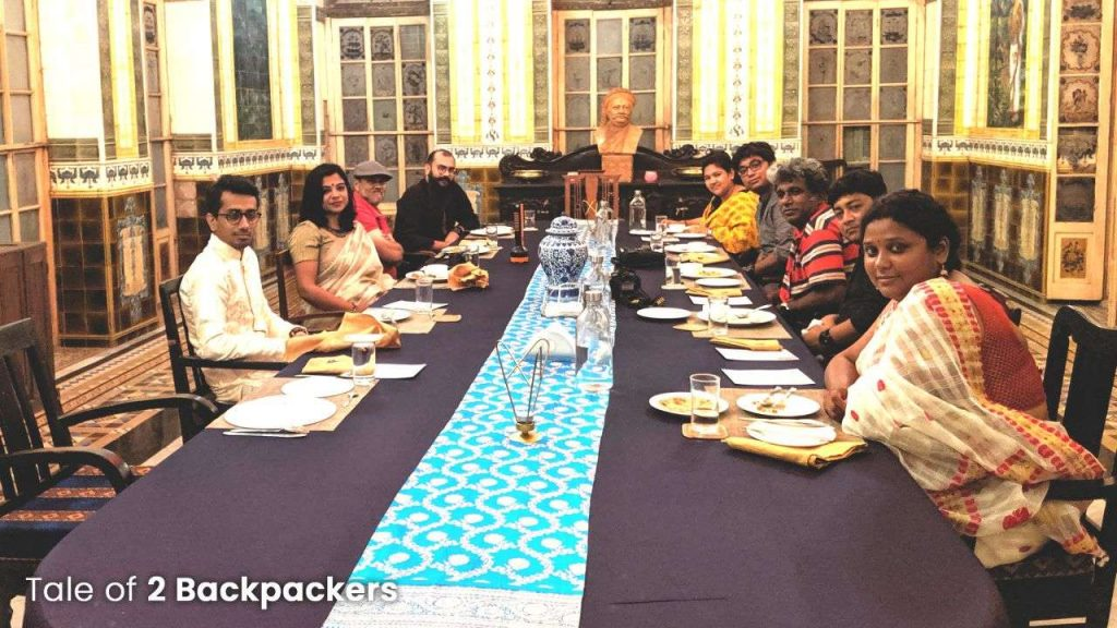 Having dinner of Sheherwali cuisine at Durbar Hall of Barikothi Murshidabad
