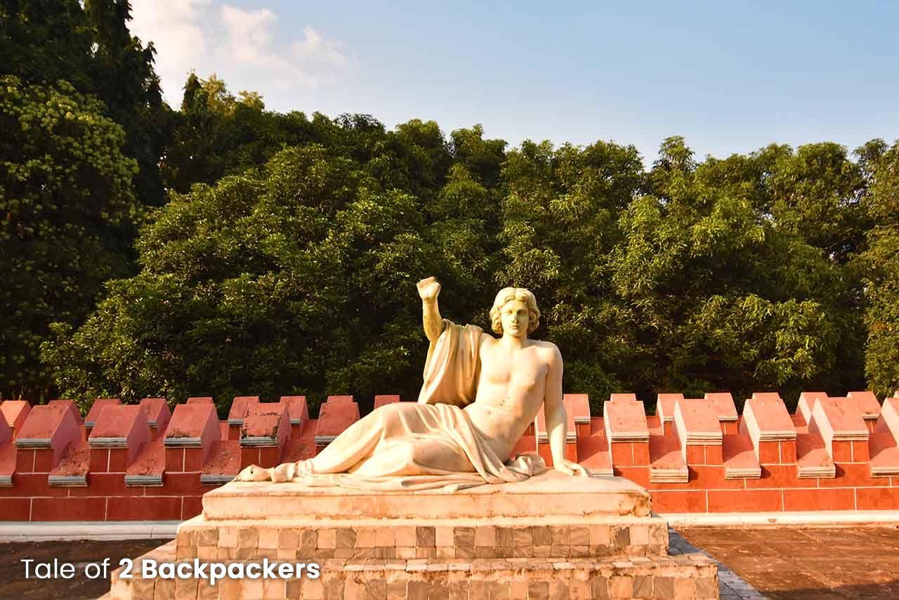 Marble statue of man at Kathgola Gardens in Murshidabad