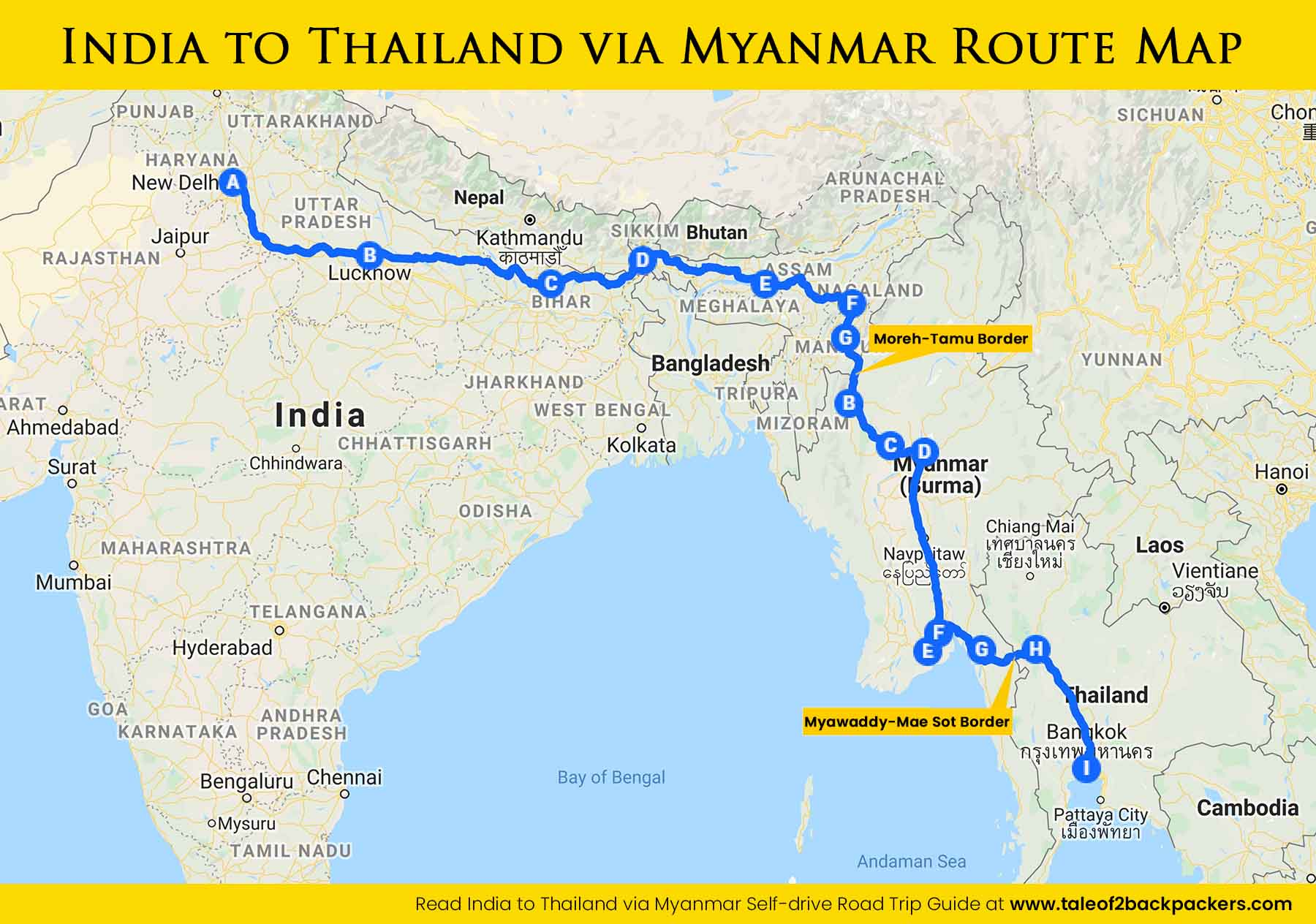 India to Thailand by Road via Myanmar route map