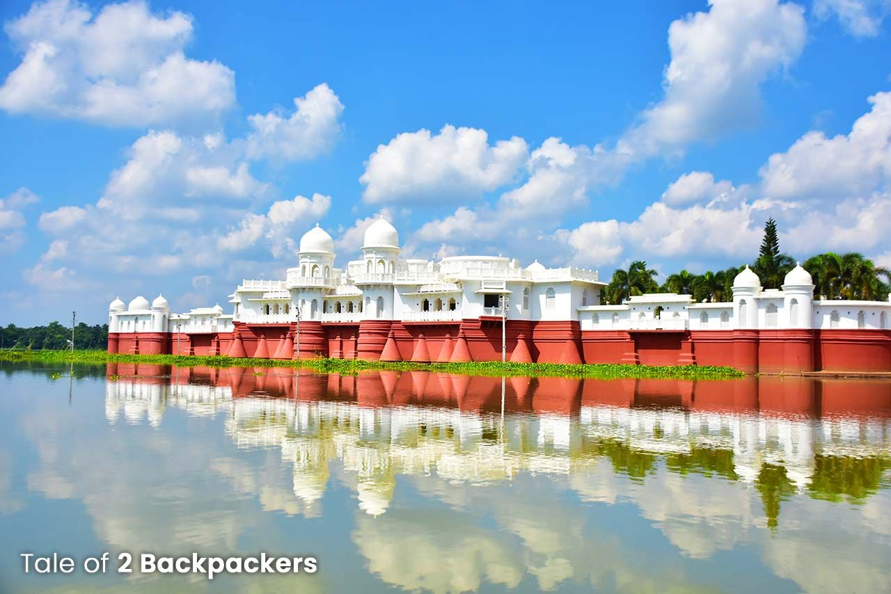 View of Neermahal Palace in Melaghar from the boat