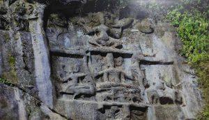 Rock-cut images of the four Gods and Goddesses at Devtamura or Chhabimura in Tripura