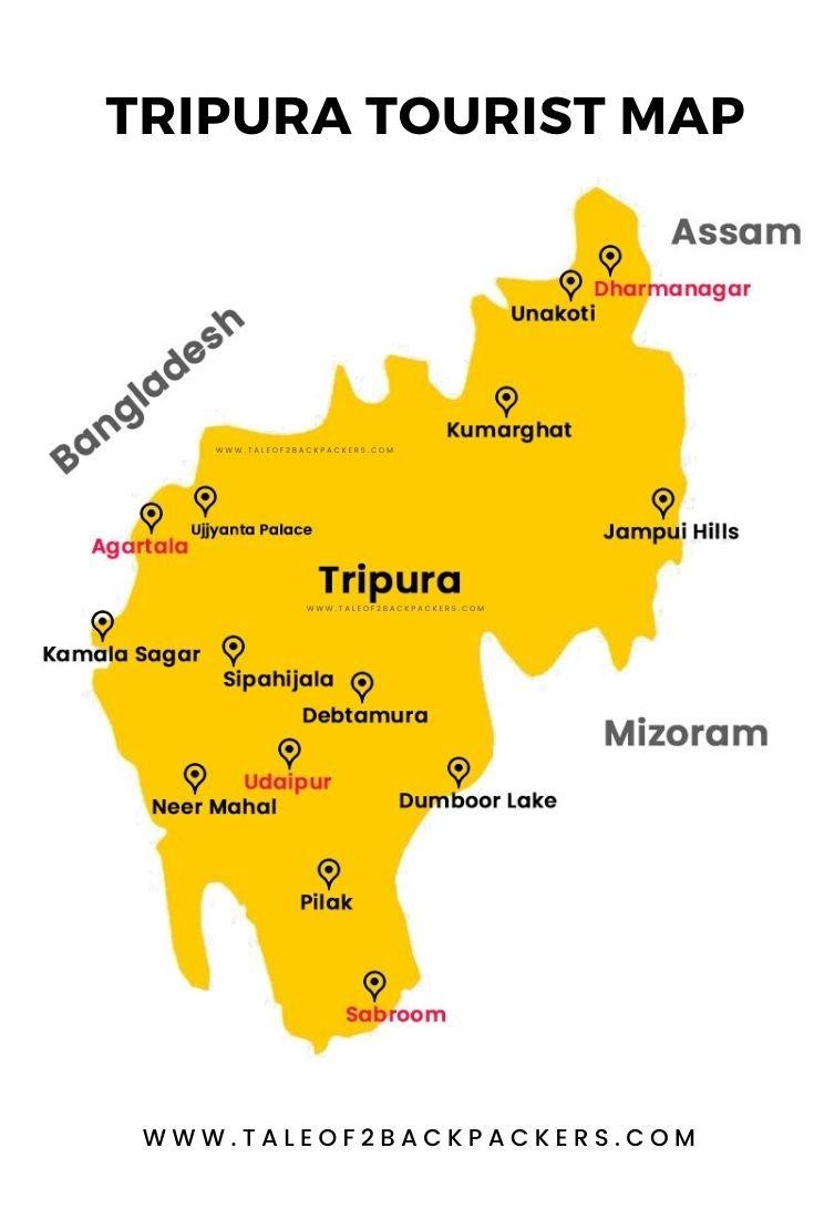 Tripura Tourist Map