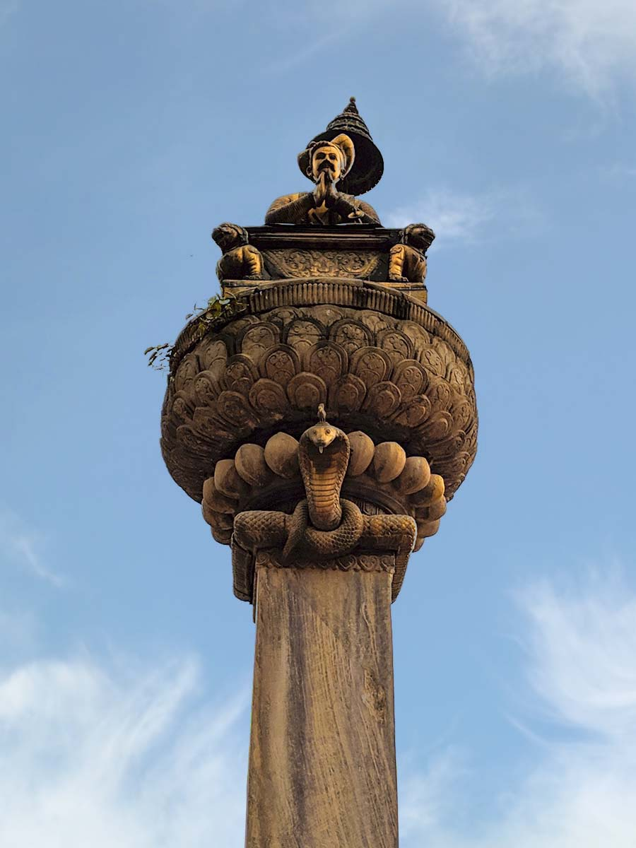 Column of King Bhupatindra Malla in Bhaktapur Durbar Square, Nepal