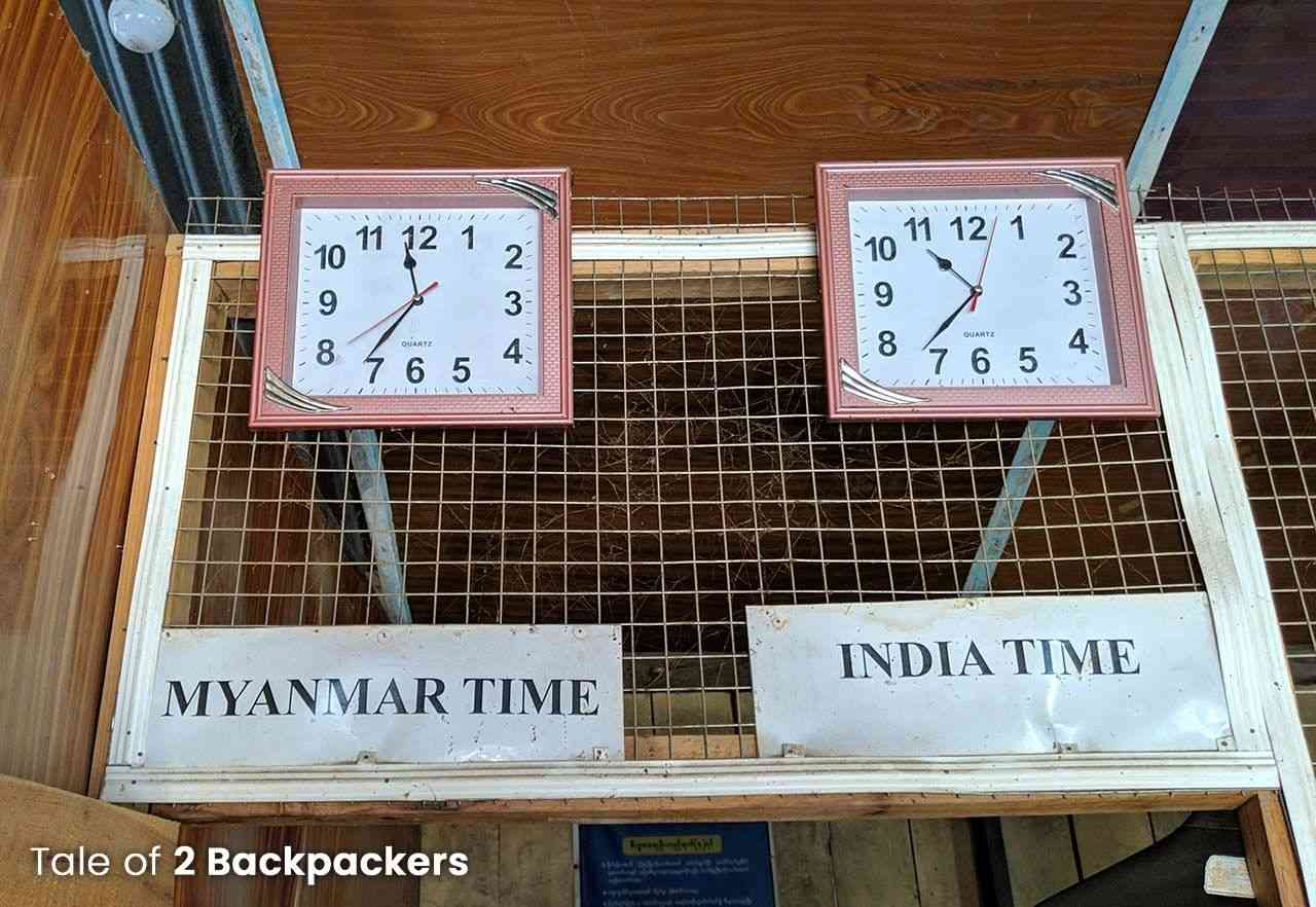 Difference in time between Myanmar and India