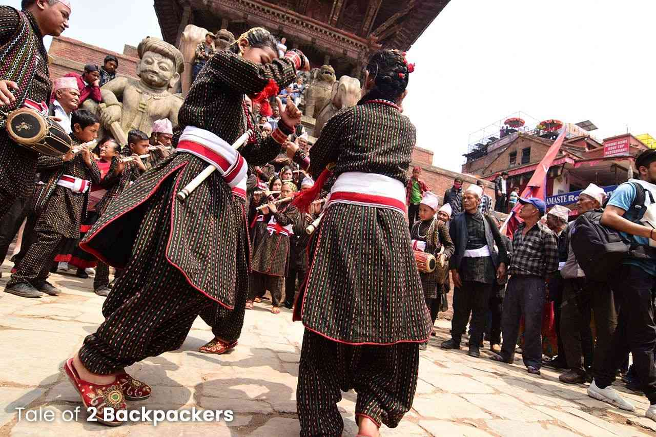 Girls dancing during Bisket Jatra