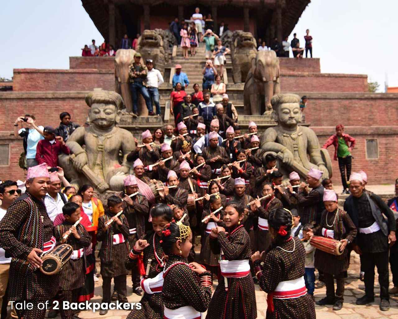 People performing in front of Nyatapola Temple in Bhaktapur