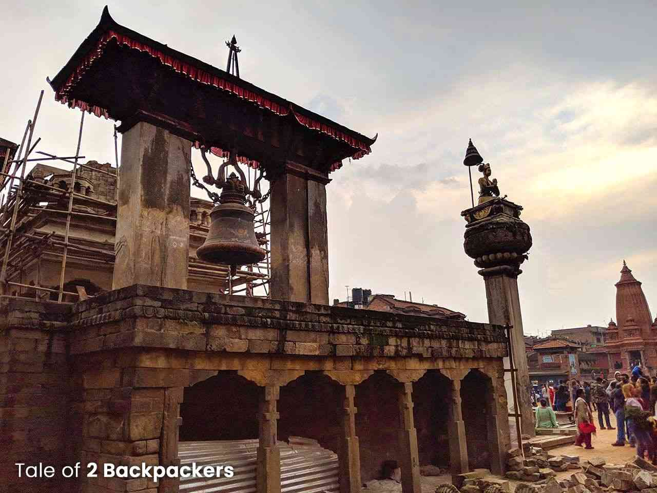 Taleju Bell and statue of King Bhupatindra Malla at Bhaktapur Durbar Square