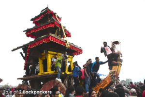 The chariot with Lord Bhairav during the Bisket Jatra at Bhaktapur