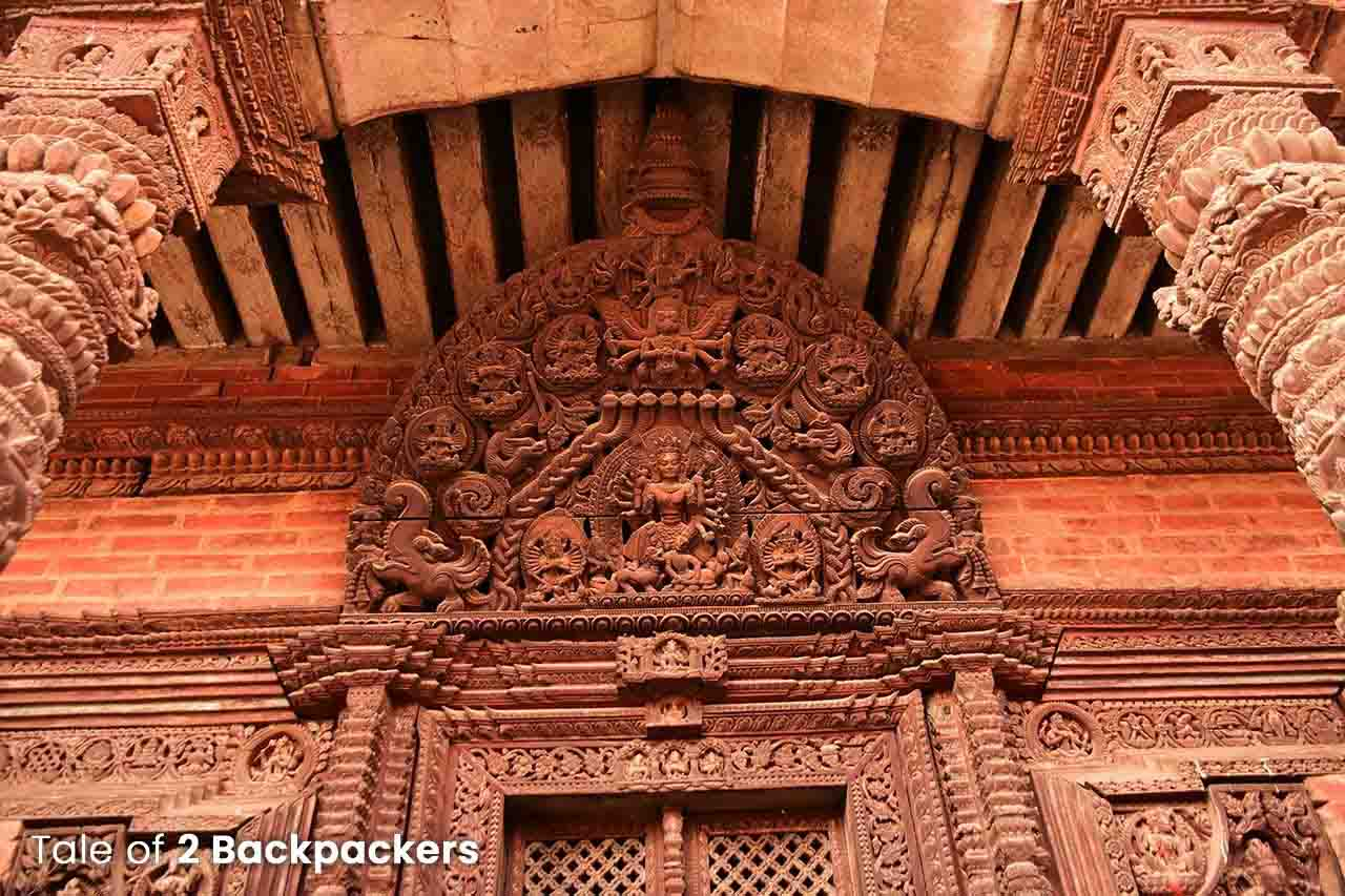 Wooden carvings on the door of a Newari House in Bhaktapur, Nepal