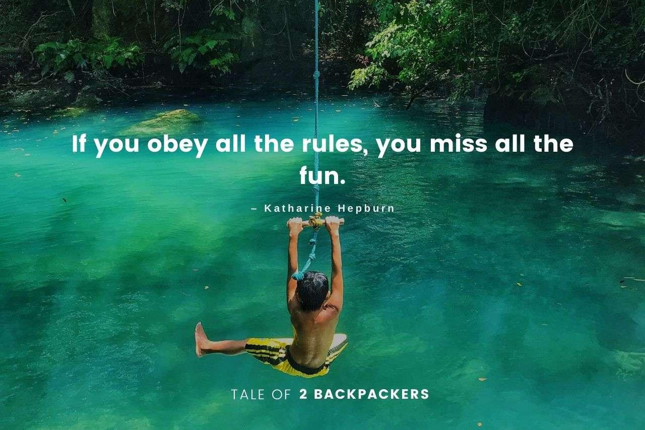 Funny adventure quotes by Katherine Hepburne