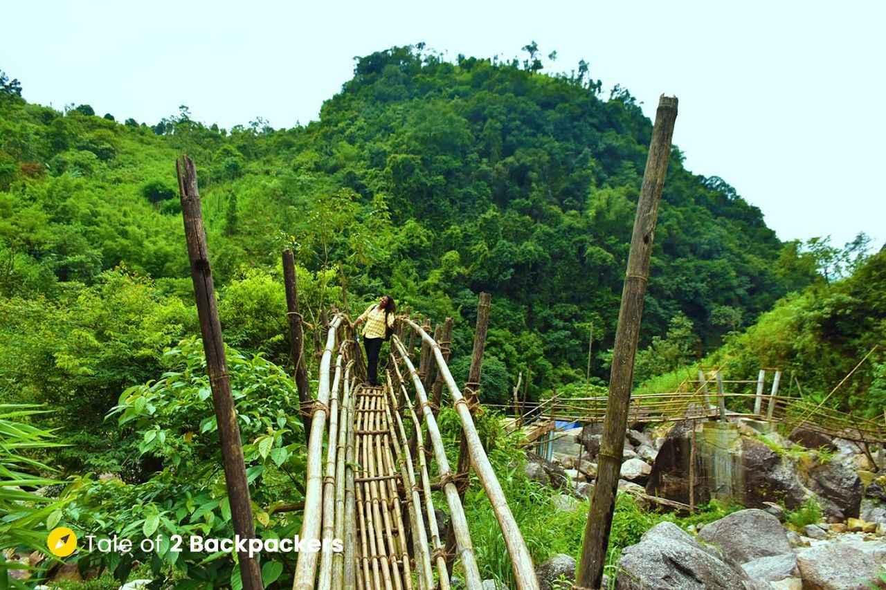 Bamboo walkway in Mawrynbkhang Trek - Offbeat Meghalaya