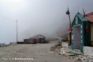 Cloudy roads near Sela Pass result in poor visibility