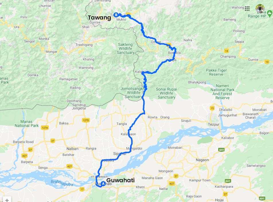 Guwahati to Tawang Road Map via NH13