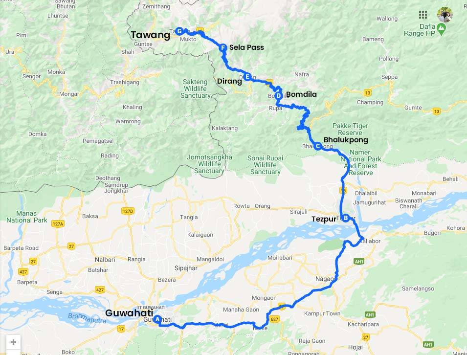 Guwahati to Tawang Road Map