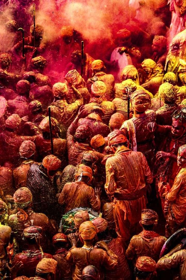 People playing Holi in Mathura