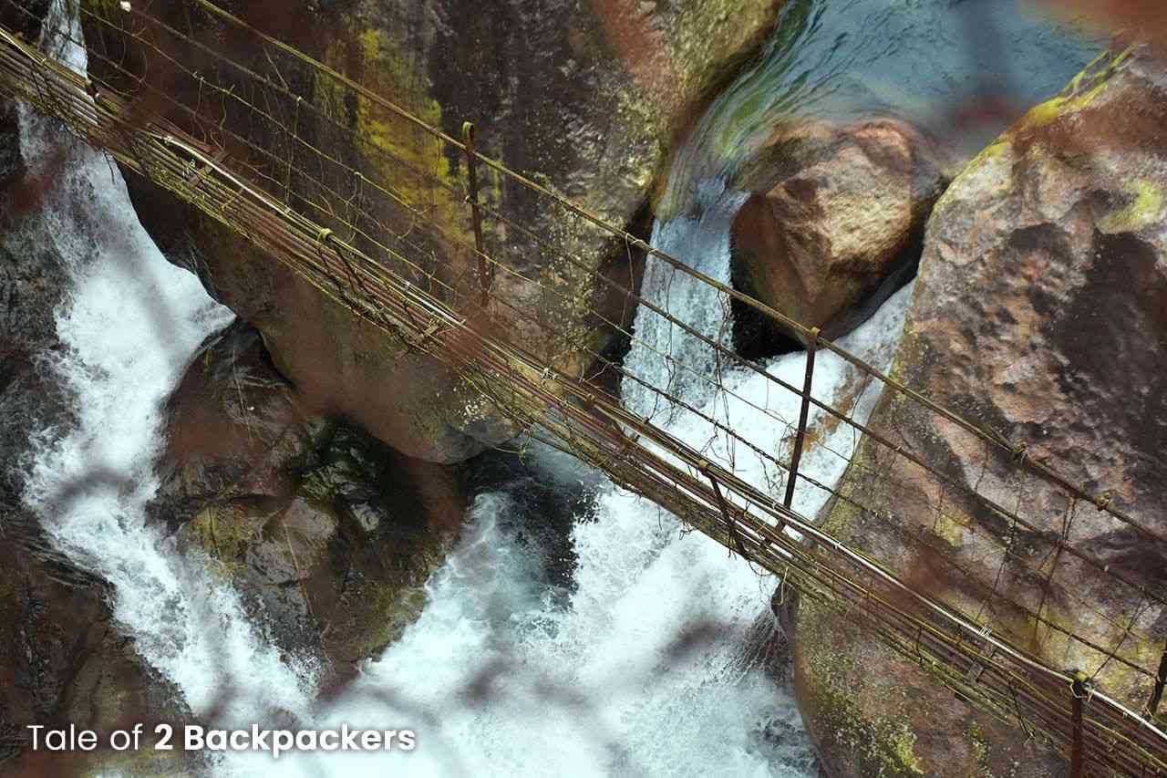 Rickety suspension bridge in Nongriat trek