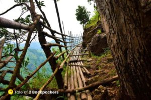 Start of the Mawkhlieng Cliff at Mawrynkhang Trek or Bamboo Trail Meghalaya