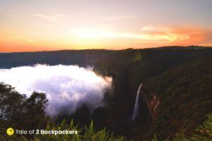Sunset at Nohkalikai Falls Sohra