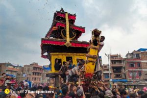 3-tiered chariot of Lord Bhairab at Bisket Jatra - Nepal Festival