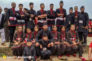 A group of performer at Bisket Jatra Nepal