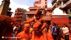 Kids enjoying at Sindur Jatra Nepal Festivals