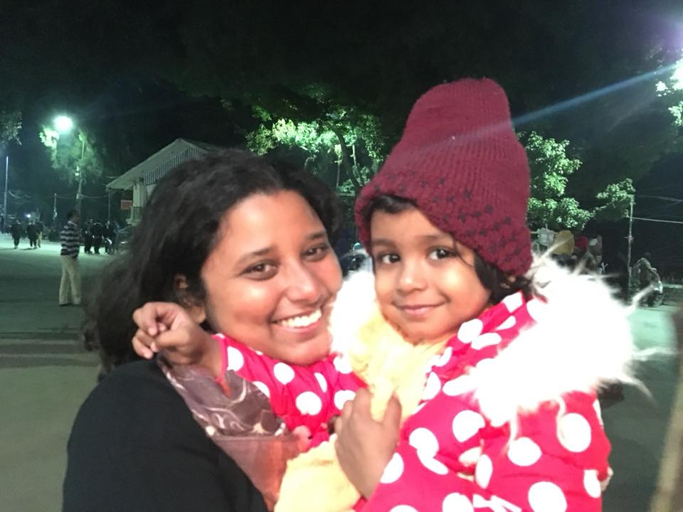 Me and my niece at Darjeeling - road trip with a toddler