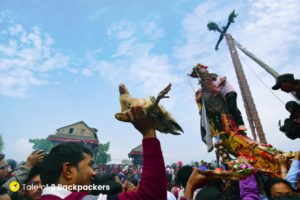 Offering animal sacrifices at Bisket Jatra - Festival in Nepal