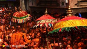 People carrying the Khats at Sindoor Jatra
